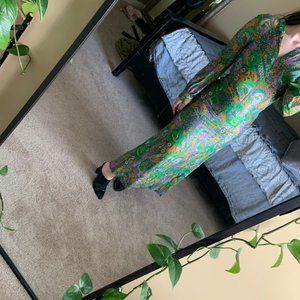 Vintage hand sewn green maxi dress small
